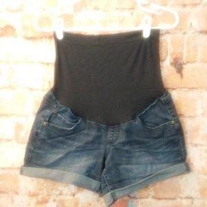 A.glow Maturnity Boyfriend Denim Shorts Full Band